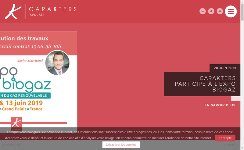 Capture d'écran du site de Carakters