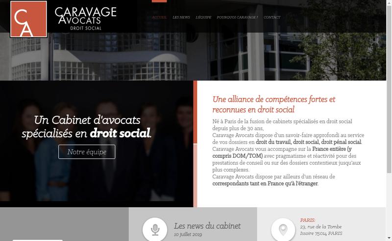 Capture d'écran du site de Caravage Avocats