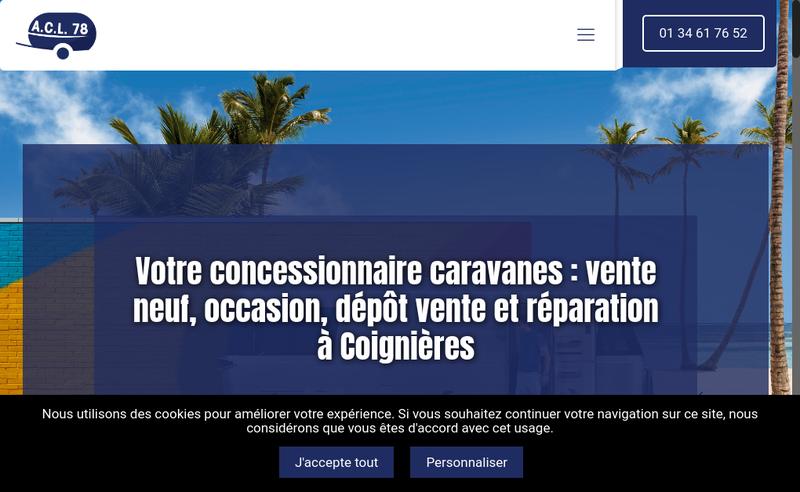 Capture d'écran du site de SARL Auto Caravanes Loisirs