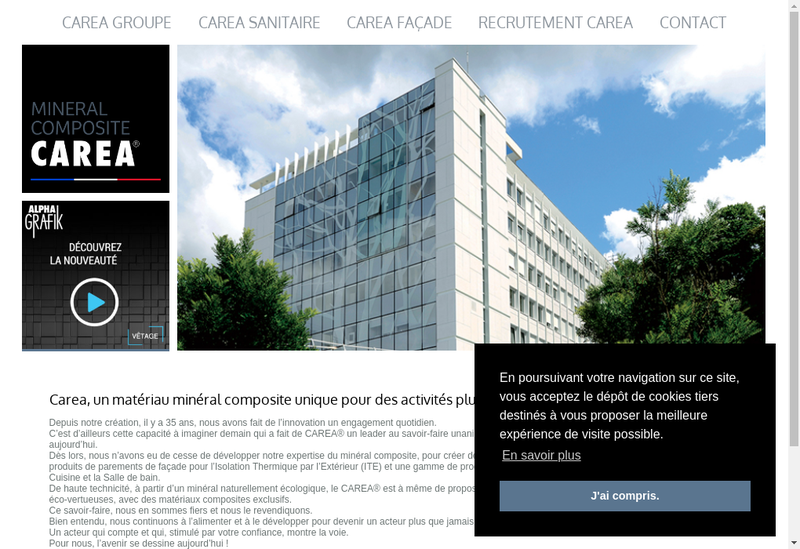Capture d'écran du site de Carea Sanitaire
