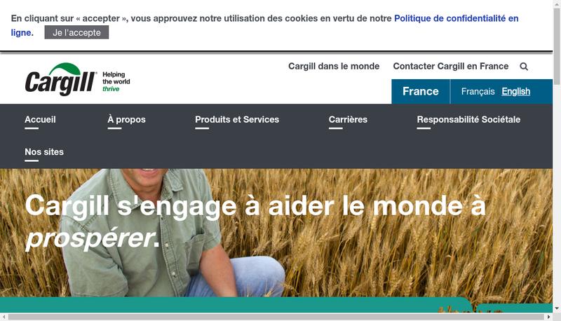 Capture d'écran du site de Cargill Haubourdin SAS