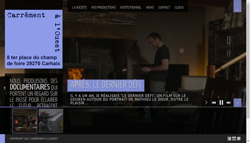 Capture d'écran du site de Carrément à l'Ouest