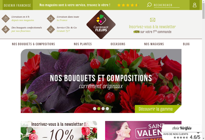 Capture d'écran du site de Carrement Fleurs