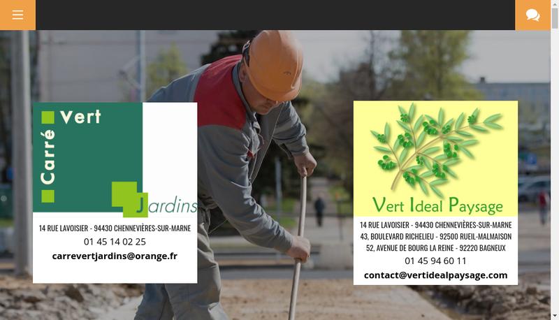 Capture d'écran du site de Vert Ideal Paysage