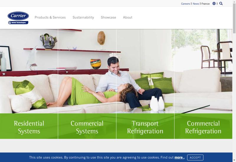 Capture d'écran du site de Carrier Refriger Distri France SAS