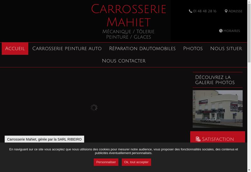 Capture d'écran du site de Carrosserie Mahiet