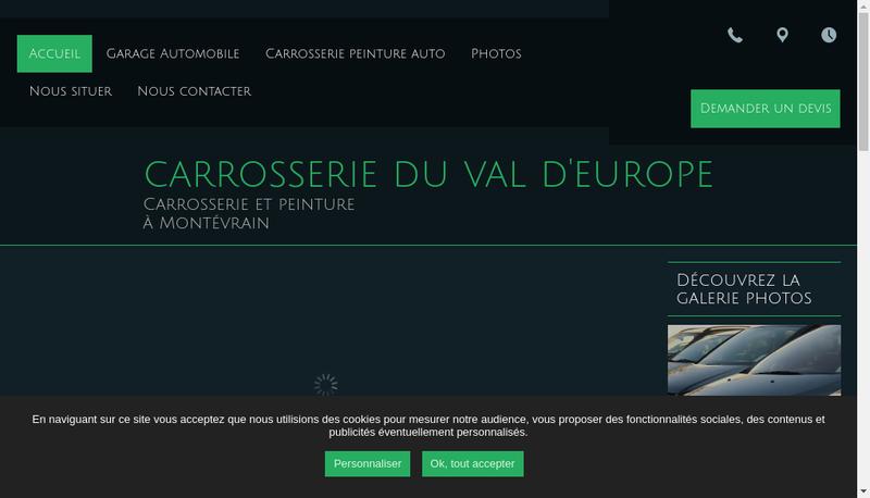 Capture d'écran du site de Carrosserie du Val d'Europe