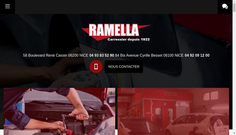 Capture d'écran du site de Carrosserie Ramella
