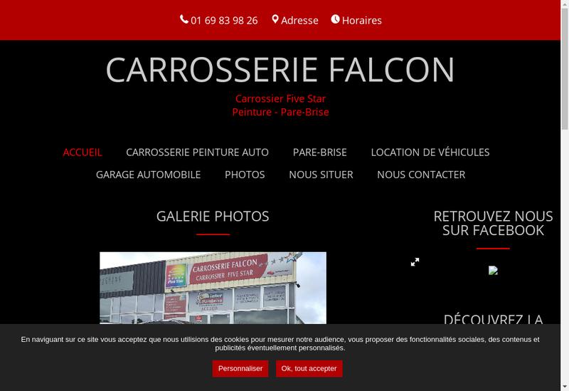 Capture d'écran du site de Carrosserie Falcon