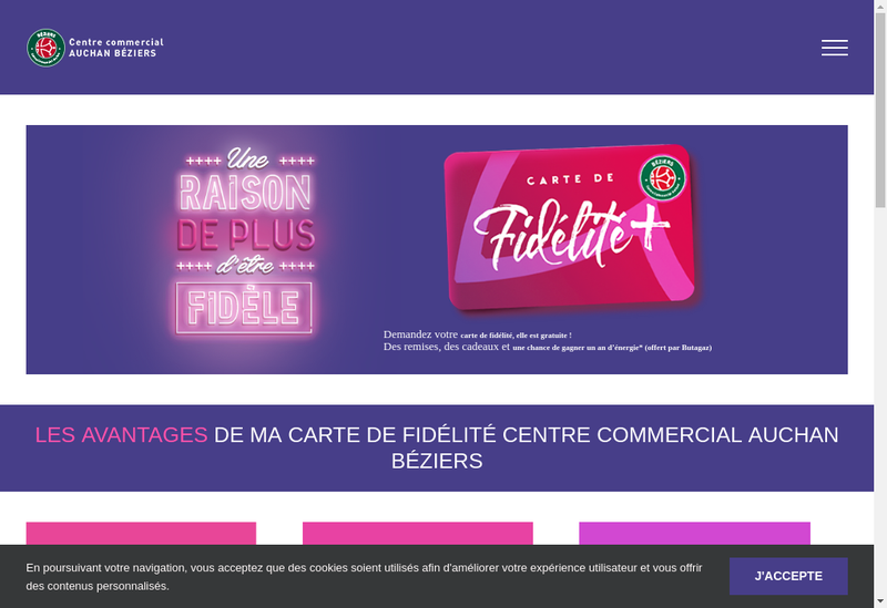 Capture d'écran du site de Centre Commercial Auchan Beziesr