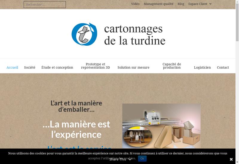 Capture d'écran du site de Cartonnages de la Turdine