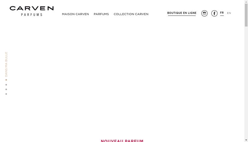 Capture d'écran du site de Carven Parfums