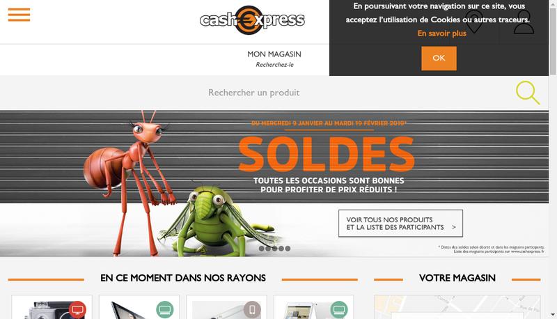Capture d'écran du site de Cash Express Groupe