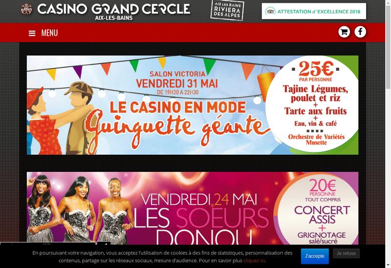 Capture d'écran du site de Casino d'Aix les Bains