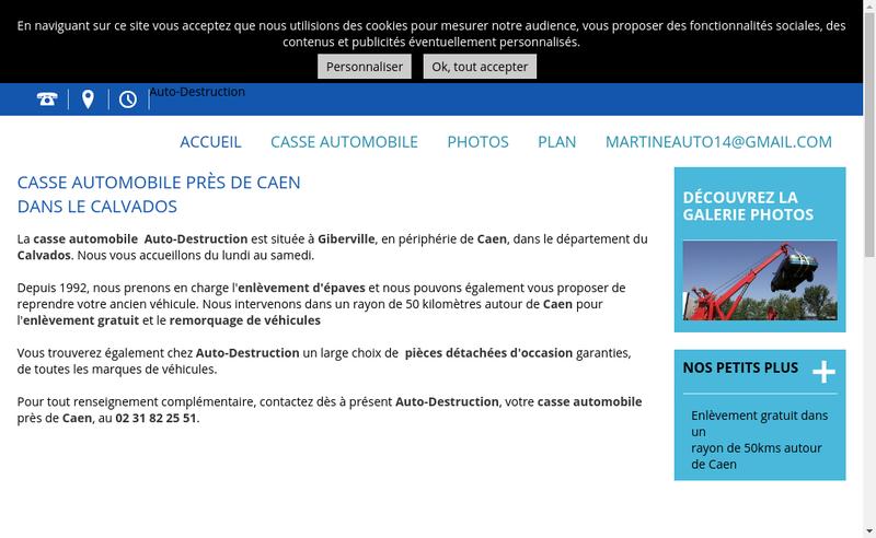 Capture d'écran du site de Auto Destruction