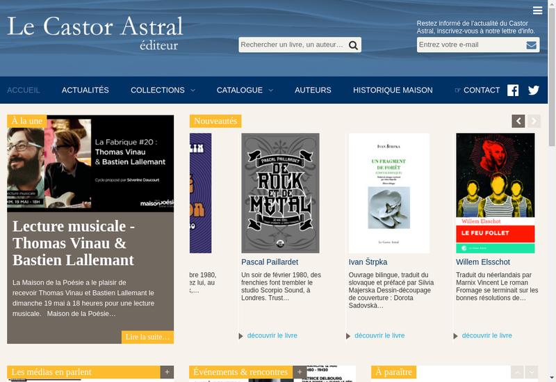 Capture d'écran du site de Le Castor Astral Editeur