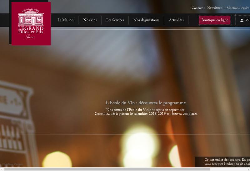 Capture d'écran du site de Caves Legrand