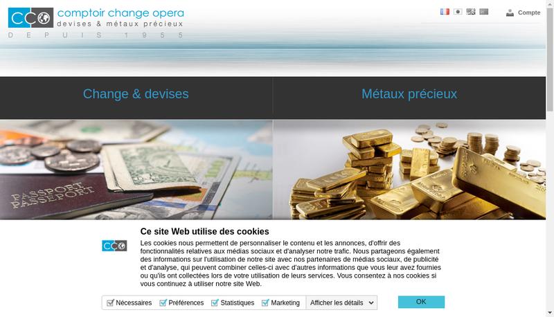 Capture d'écran du site de Comptoir de Change Opera