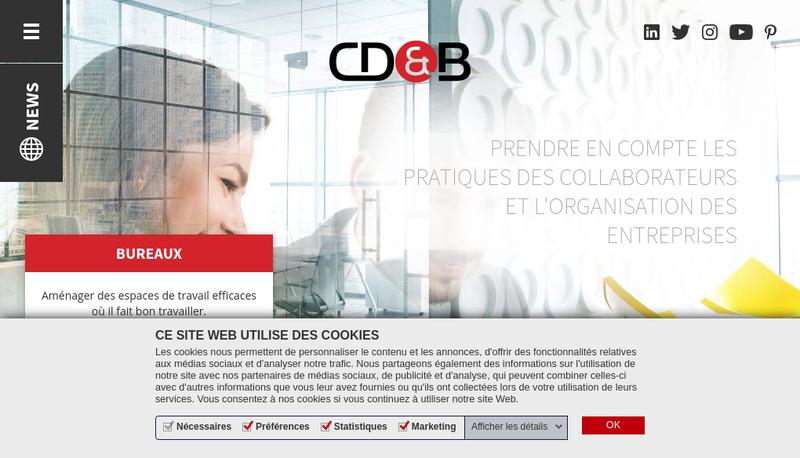 Capture d'écran du site de Cd&B Facilitem, Cd&B Office Setups, Cd