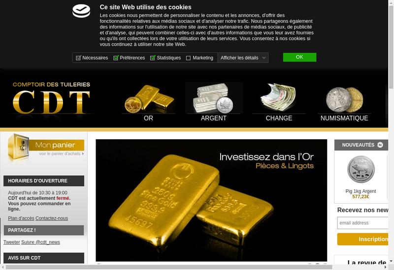 Capture d'écran du site de Comptoir Monetaire de la Bourse