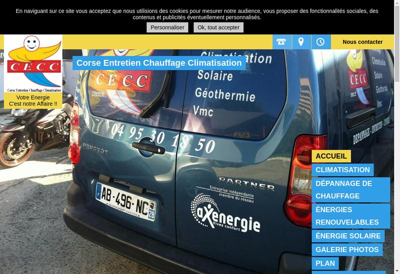 Capture d'écran du site de Corse Entretien Chauffage Climatisat