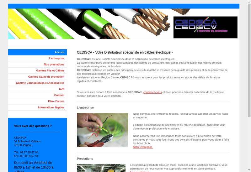 Capture d'écran du site de Cedisca Centre Distribution Cables