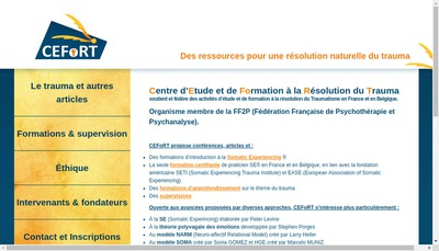 Site internet de Cefort (Centre d'Etude et de Formation a la Resolution du Trauma)