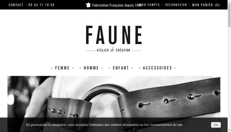 Capture d'écran du site de Faune, Ceintures Cuir