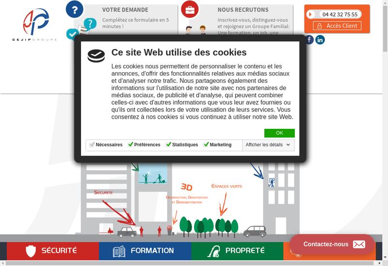 Capture d'écran du site de Gis