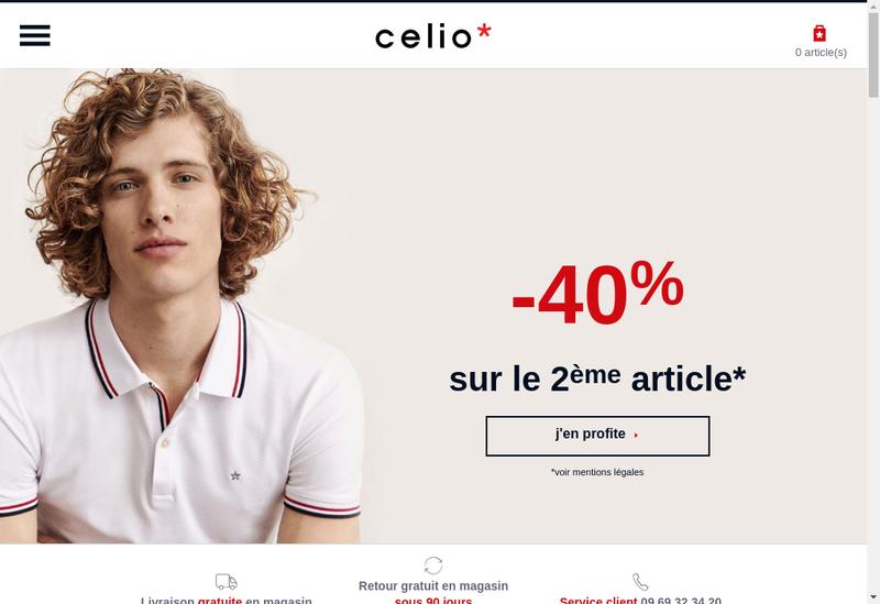 Capture d'écran du site de Celio