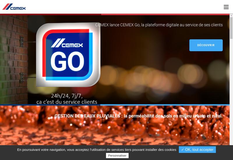 Capture d'écran du site de Cemex Granulats Rhone Mediterranee