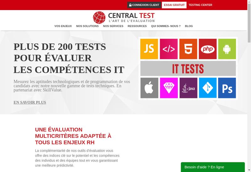 Capture d'écran du site de Central Test