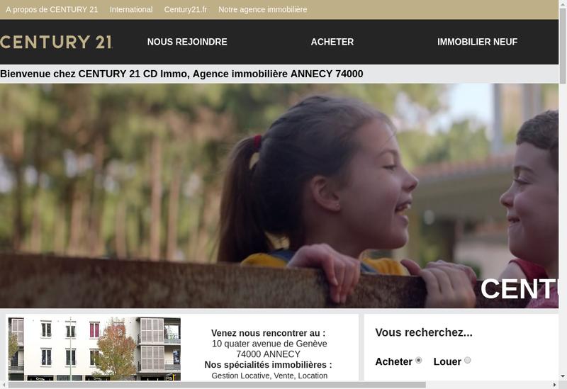 Capture d'écran du site de CENTURY 21 CD Immo à Annecy