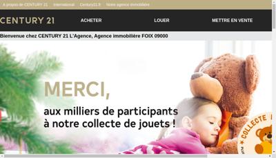 Capture d'écran du site de Century 21 l'Agence