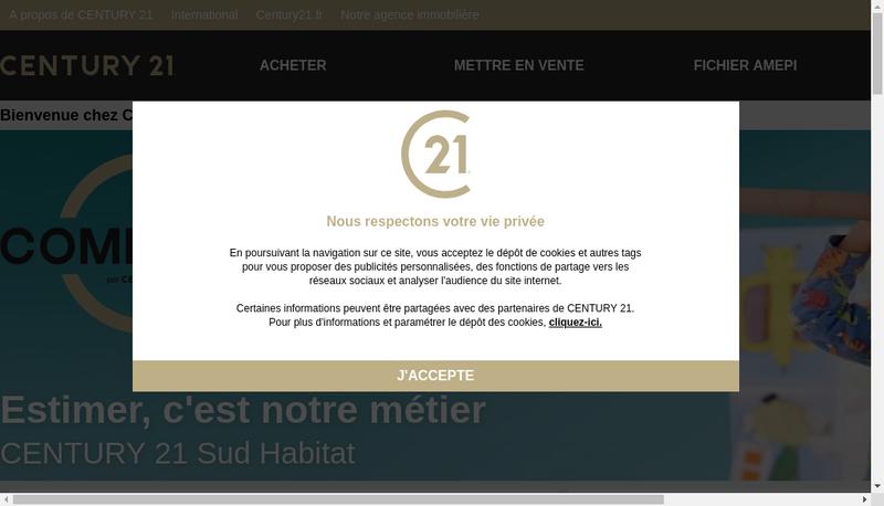 Capture d'écran du site de Agence Immobiliere Sud Habitat