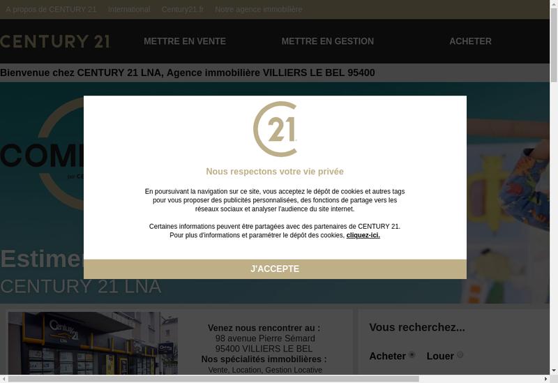 Capture d'écran du site de Century 21 Lna