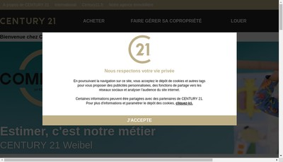 Site internet de Century 21 Immobiliere Weibel