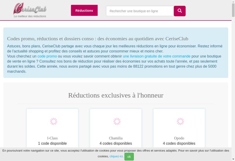 Capture d'écran du site de La Cerise Bleue