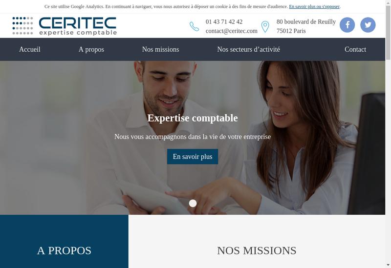 Capture d'écran du site de Ceritec