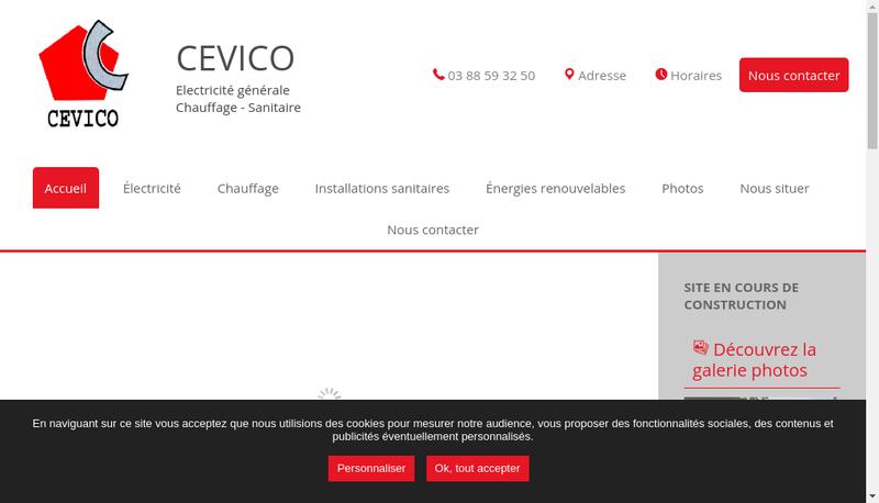 Capture d'écran du site de Cevico