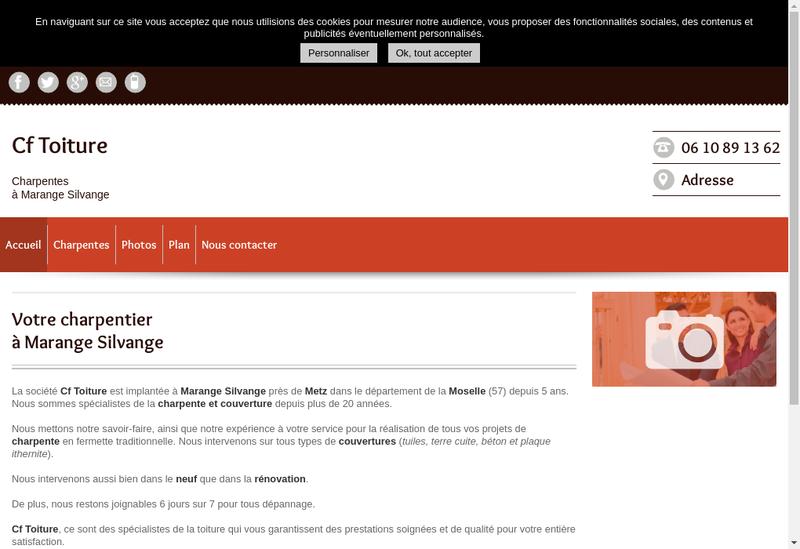 Capture d'écran du site de Cf Toiture