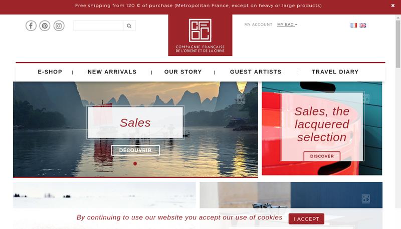 Capture d'écran du site de Compagnie Francaise de l'Orient et de la Chine -