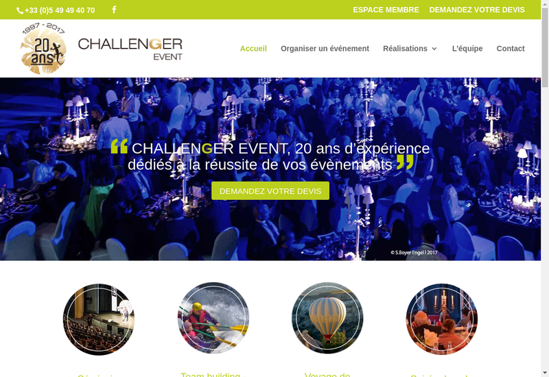 Capture d'écran du site de Challenger Event