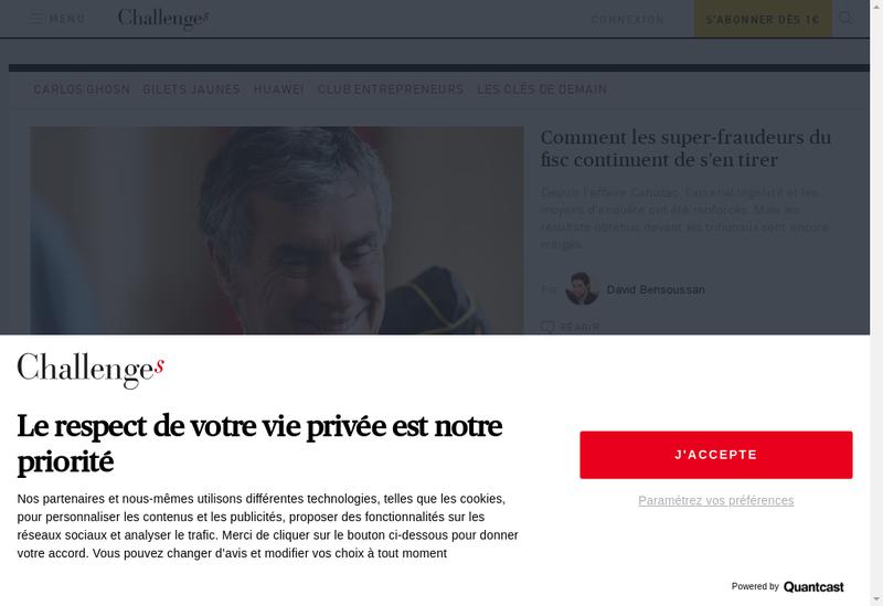 Capture d'écran du site de Challenges / Challenges.fr