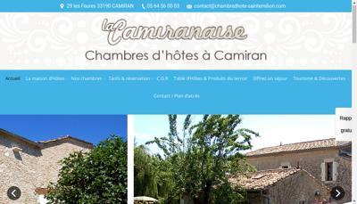 Capture d'écran du site de La Camiranaise