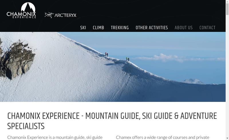 Capture d'écran du site de Chamonix Experience