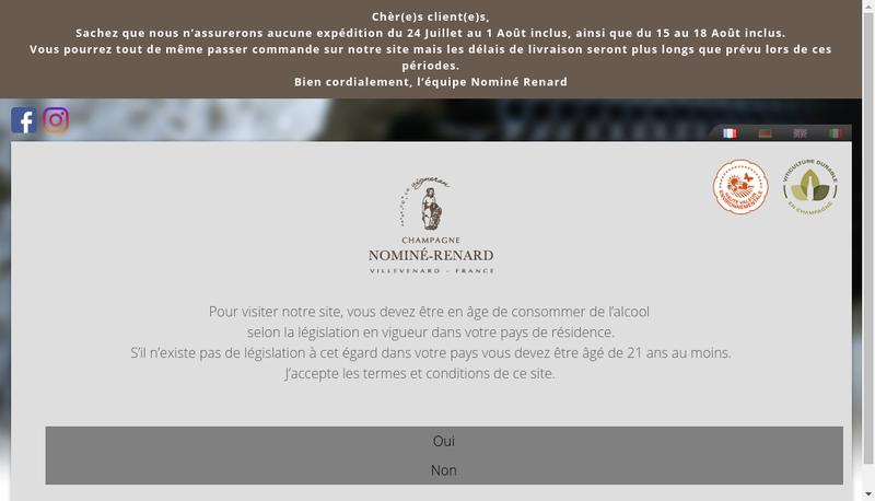 Capture d'écran du site de SA Nomine Renard