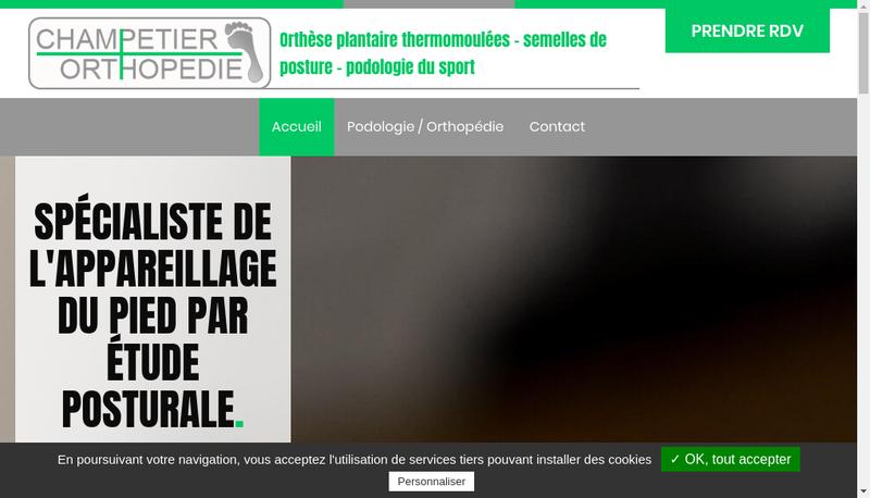 Capture d'écran du site de Champetier Orthopedie