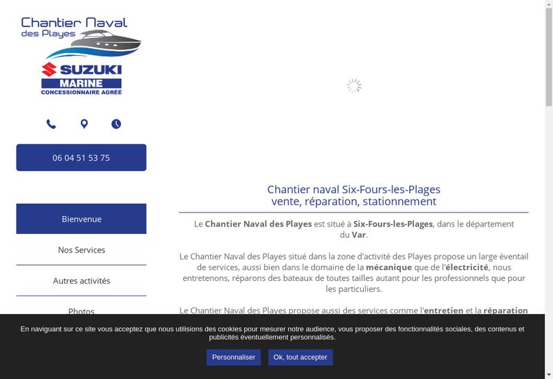 Capture d'écran du site de Chantier Naval des Playes