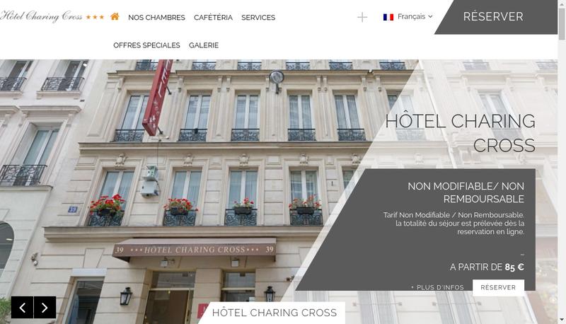 Capture d'écran du site de Hotel Charing Cross